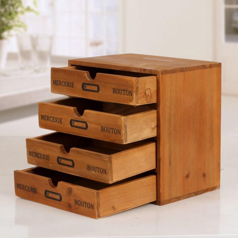 Épicerie créative 3 couche rétro tiroir en bois armoire de rangement ancienne maison finition Cabine de rangement fournitures de rangement domestique