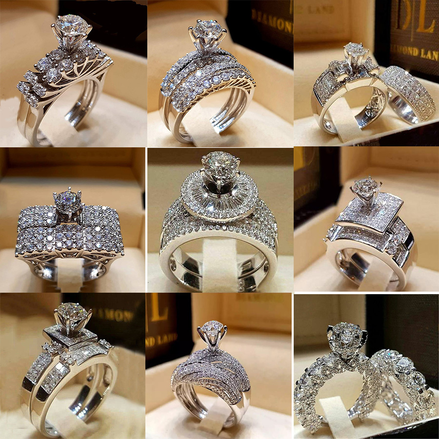 Big Cubic Zirconia Round Ring Set Fashion Wedding Boho Jewelry Female Crystal Silver Engagement Rings for Women Party New Gift
