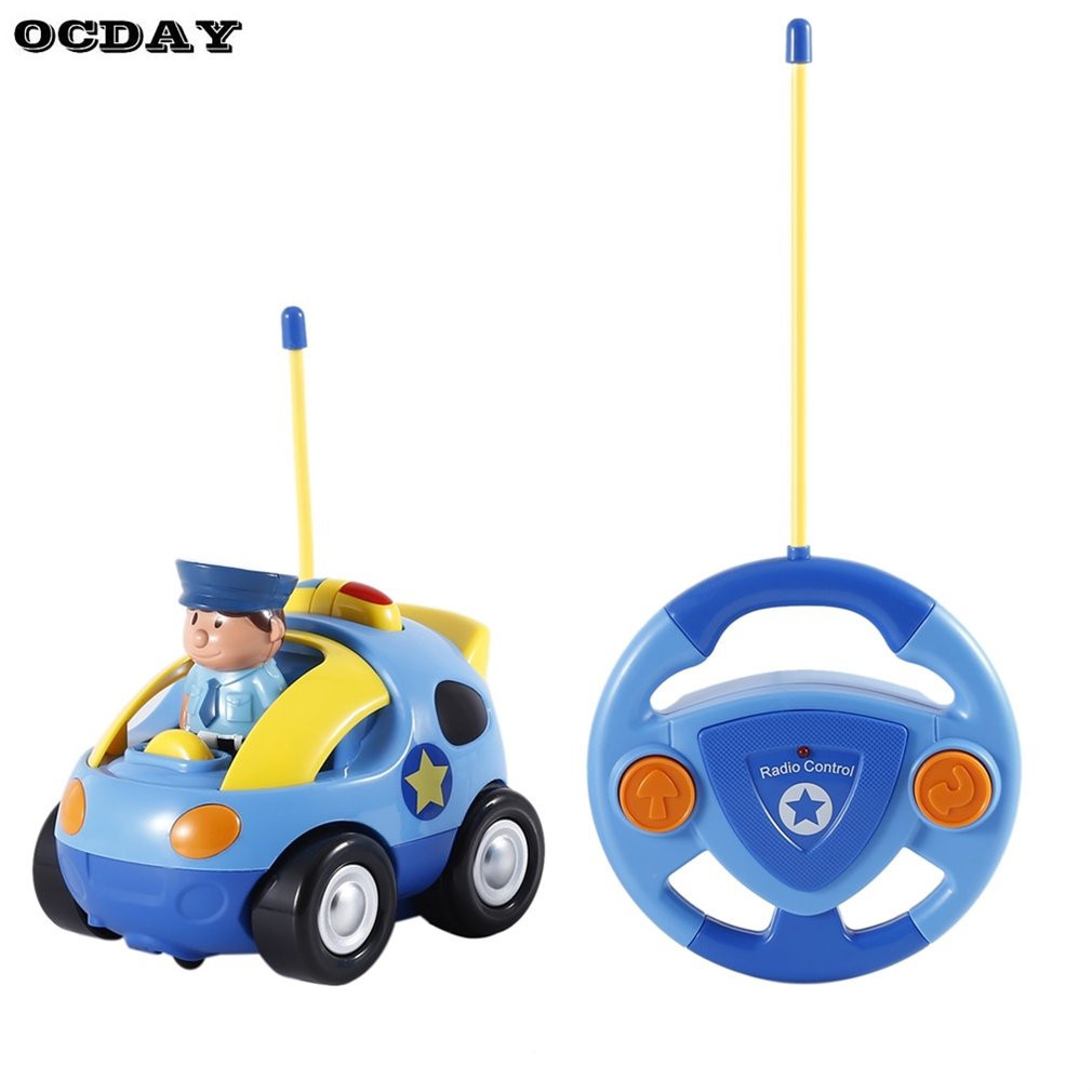 OCDAY Cartoon Children RC Cars Police Electric With Musical Light Mini Cars Automobile Race Children Gifts Plastic RC Race Car