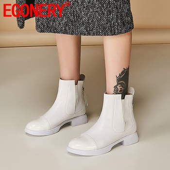 EGONERY woman shoes 2019 spring autumn new fashion casual date ankle boots outside date low heel leather shoes plus size 33-40