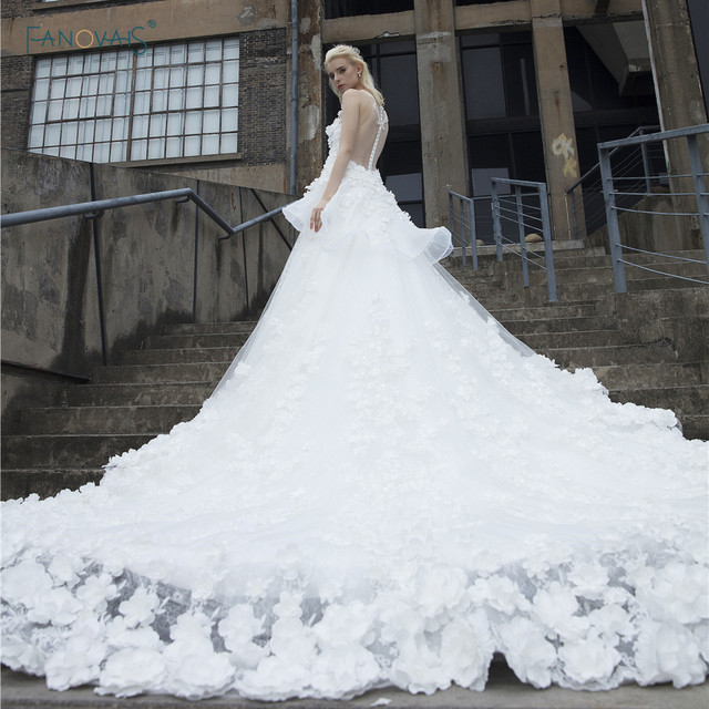 Vintage Brautkleider 2017 Kathedrale Zug Ballkleid Real Luxury Blume ...