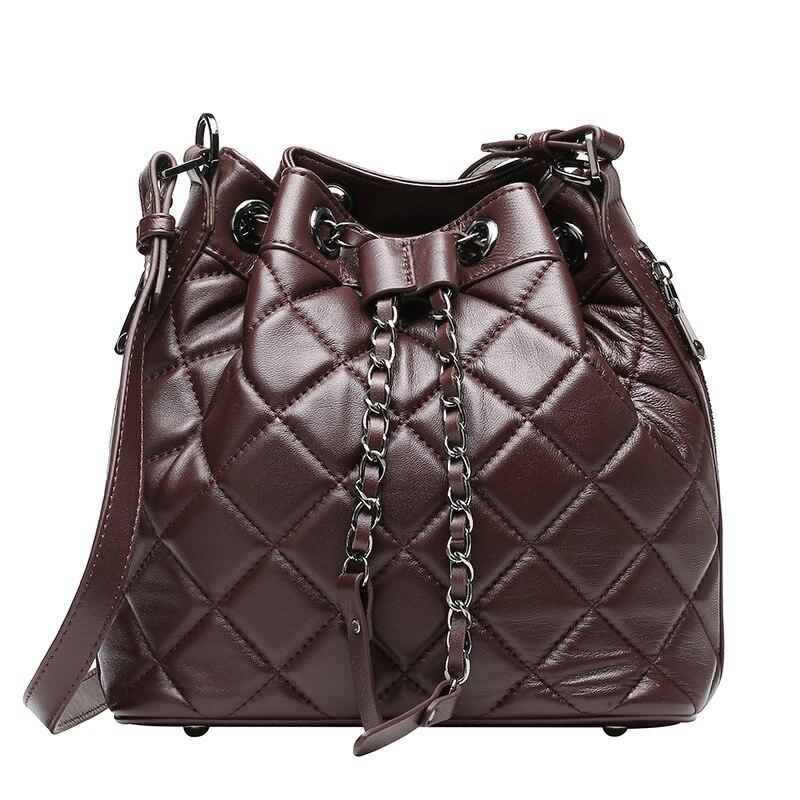 2017 New Woman Bag Sheepskin Genuine Leather Bucket Shoulder Handbag Chains Women Messenger Bags Ladies Handbags Purses Sacs vita silvia copper