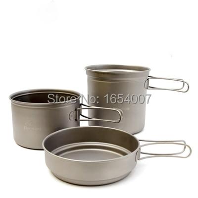 Venta caliente 2-3 personas titanium pot establece fmc-td2 alimentación cubierto