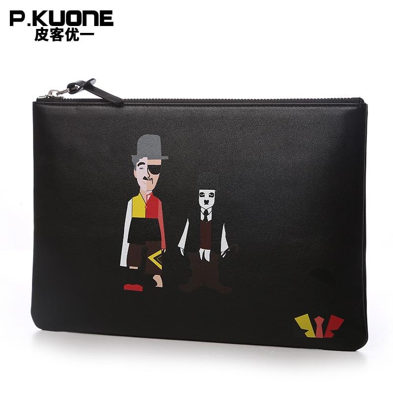 P.KUONE Genuine Leather Clutch Bag Fashion Men Handbag Pattern Men Wallet Bag Travel Phone Bag Card Holder Male Coin Purse цена 2017