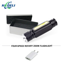 Night reading usb flashlight 18650 Built-in battery COB CREE XML T6 led torch flash light waterproof camping charge hand lamp(China)