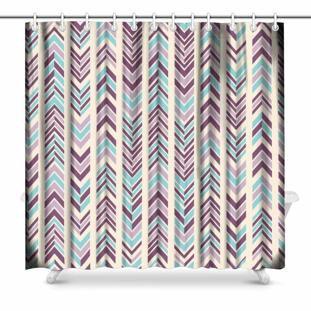 Aplysia Abstract Modern Chevron Pattern In Bright Colors Art Decor Print Bathroom Shower Curtain Decorations Fabric