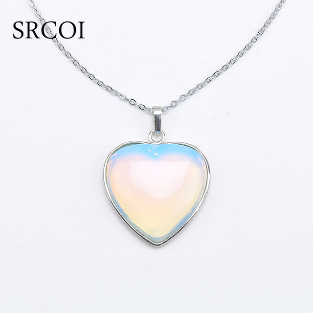 Srcoi new opal jewelry heart necklace natural crystal stone necklace srcoi new opal jewelry heart necklace natural crystal stone necklace pendant designs silver birthstone opal stone aloadofball Images