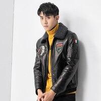 2018 новый Хейнинг кожа пуховая куртка, мужчина кожаная куртка, air force форма, Indian head пальто P1080