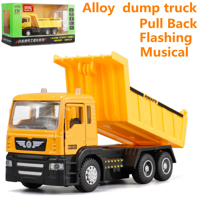 High Simulation Dump Truck Model,1: 43 Scale Alloy Pull Back Toy Cars, Flashing & Musical,diecasts & Toy Vehicl,free Shpping