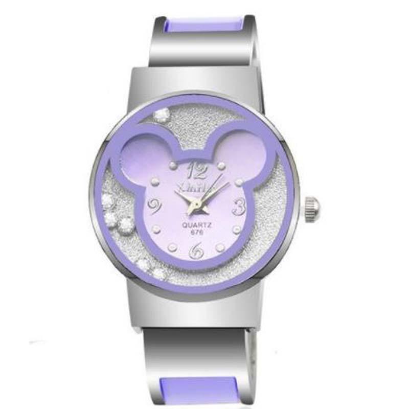 New Fashion Mickey Bracelet Watches Women Dress Analog Girl Cute Rolling Rhinestone Wristwatches 2019 Ladies Casual Quartz Watch