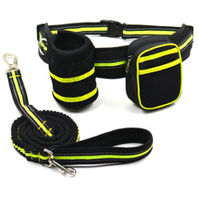 Portable Dog Training Running Waist Bag Set Detachable Pup Carrier Feed Pocket With Stretch Leashes Snack Reward