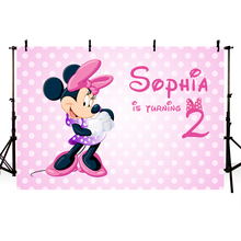 MEHOFOTO Cute Minnie Baby Shower Birthday Party Backdrop for Girls Pink Theme White Polka Dots Cartoon Backgrounds Vinyl 7x5FT