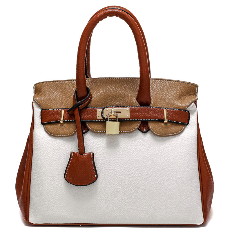 ФОТО Women Leather Handbags Brand Design Lock Panelled Tote Bags Female Fashion Cross Body Shoulder Bag Sac Femme Handtassen