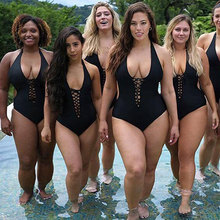 купить Plus Size Swimsuit Women Solid Color Bandage Swimwear Cut out Black White Polyester Hanging Neck Backless Swimsuits Large M-5XL дешево