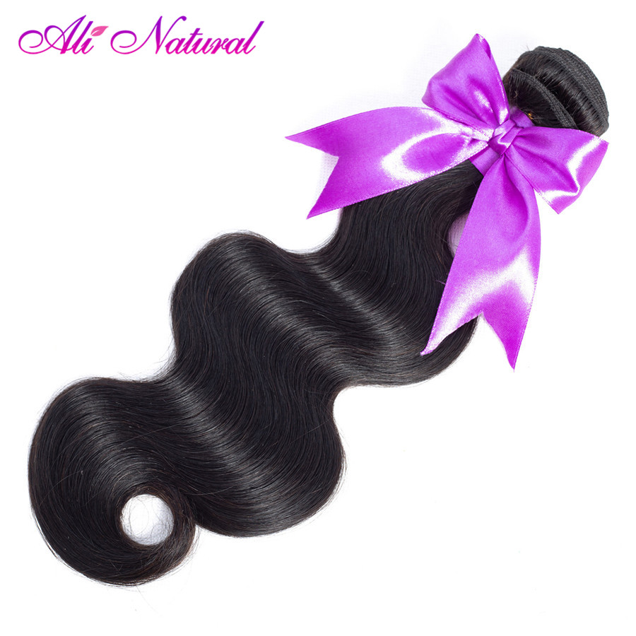 Ali Natural Malaysian Body Wave Hair Bundle 100% Human Hair Weave Bundle Non-Remy Hair Weaving 100g Natural Color Double Weft