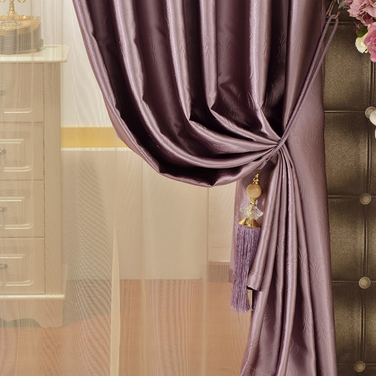 Korean Style Curtain Pure Color Blackout Shade Curtains for Bedroom Living Room