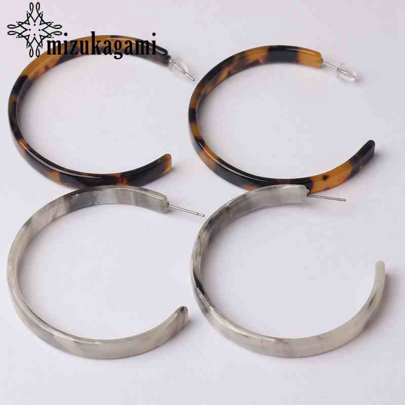 Fashion Bohemia Acetate Resin Big Exaggerated Leopard Hoop Earrings For Women Vintage Circle Hoops