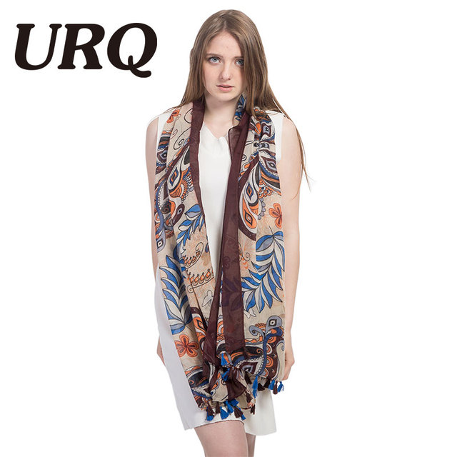 soft bright foulard tassel Scarf for Women print abstract ethnic scarf Chinese style Flower Shawls hijab Sping summer 2017 brand