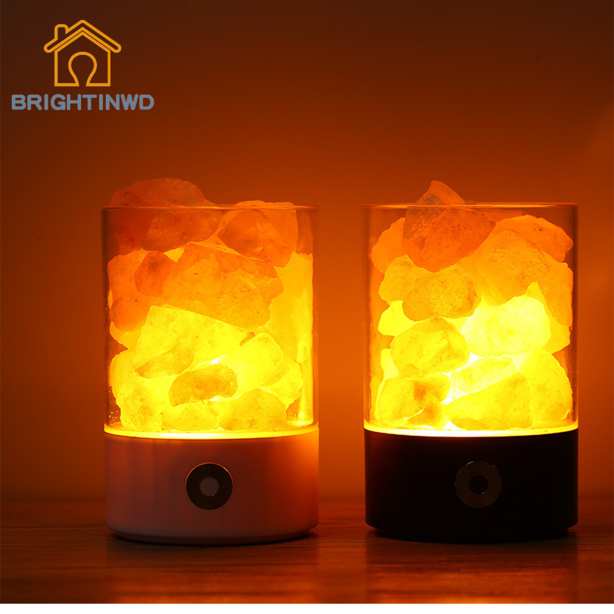 BRIGHTINWD USB Crystal Salt Night Light Himalayan Crystal Salt Lamp Air Purifying Night Light Decorative Colorful Atmosphere