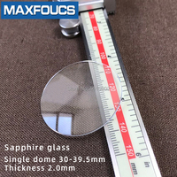 Watch glass Anti scratch sapphire single dome Thick 2.0mm diameter 30 mm ~ 39.5 mm Transparent crystal 1Pieces