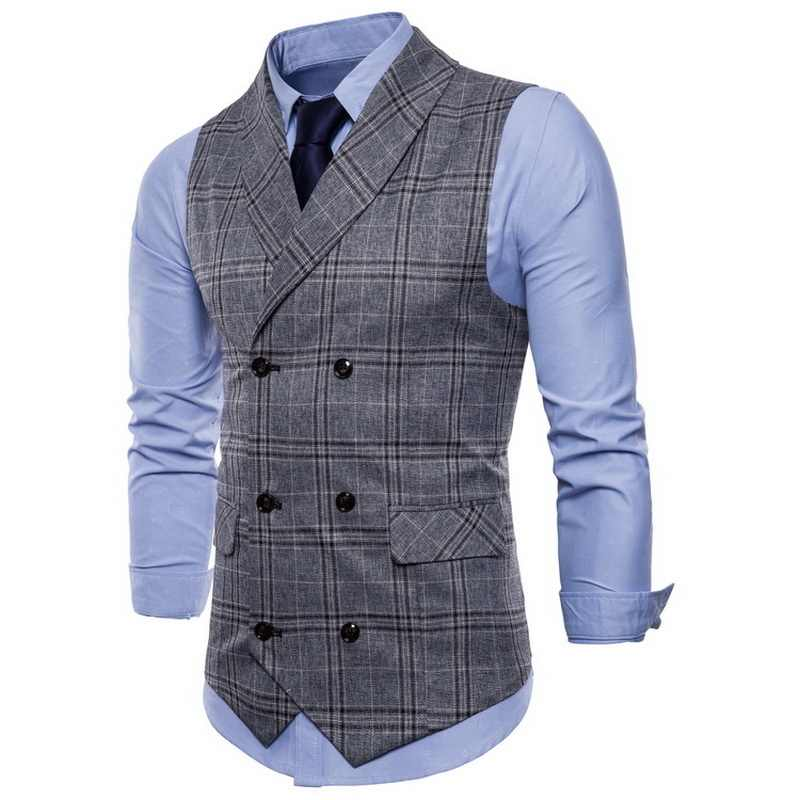 Seenimoe Heren Vesten Streep Plaid Formele Blazer Vesten Double Breasted Heren Vest Pak M-4XL Mannelijke Business Casual Vest