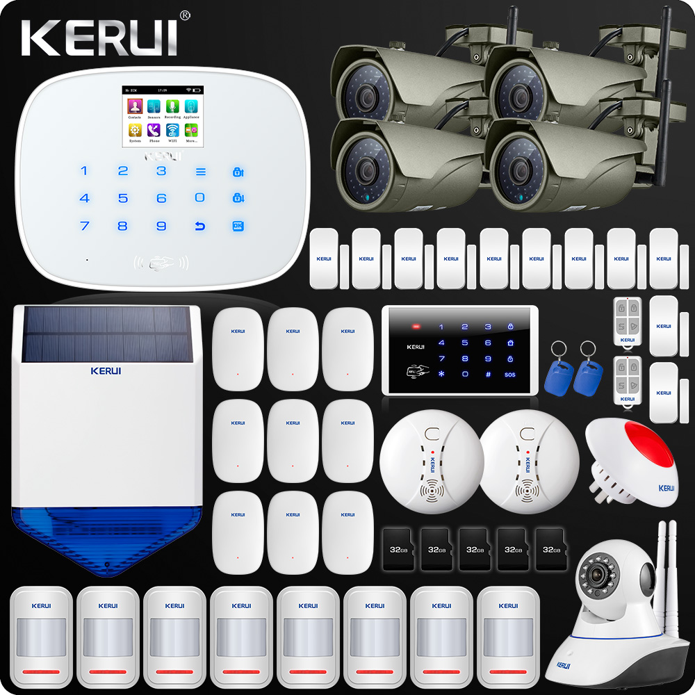 W193 3G WIFI PSTN GSM Home Burglar LCD Touch Screen Alarm Home Security Alarm System Indoor Siren  Vibration Sensor Wifi Camera