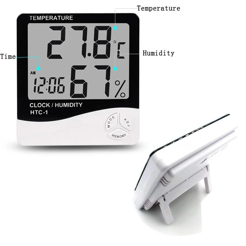 Digital LCD Temperature Humidity Meter Hygrometer Indoor Room Thermometer Clock