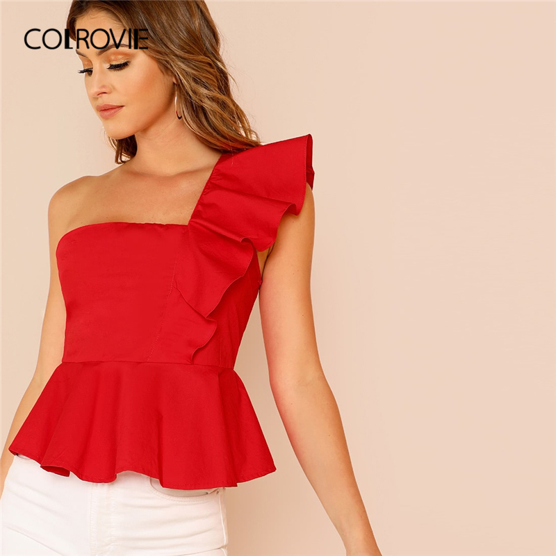 COLROVIE White Ruffle Trim One Shoulder Elegant Peplum Top Women   Blouse     Shirt   2019 Summer Red Slim Fit Office Ladies   Shirts
