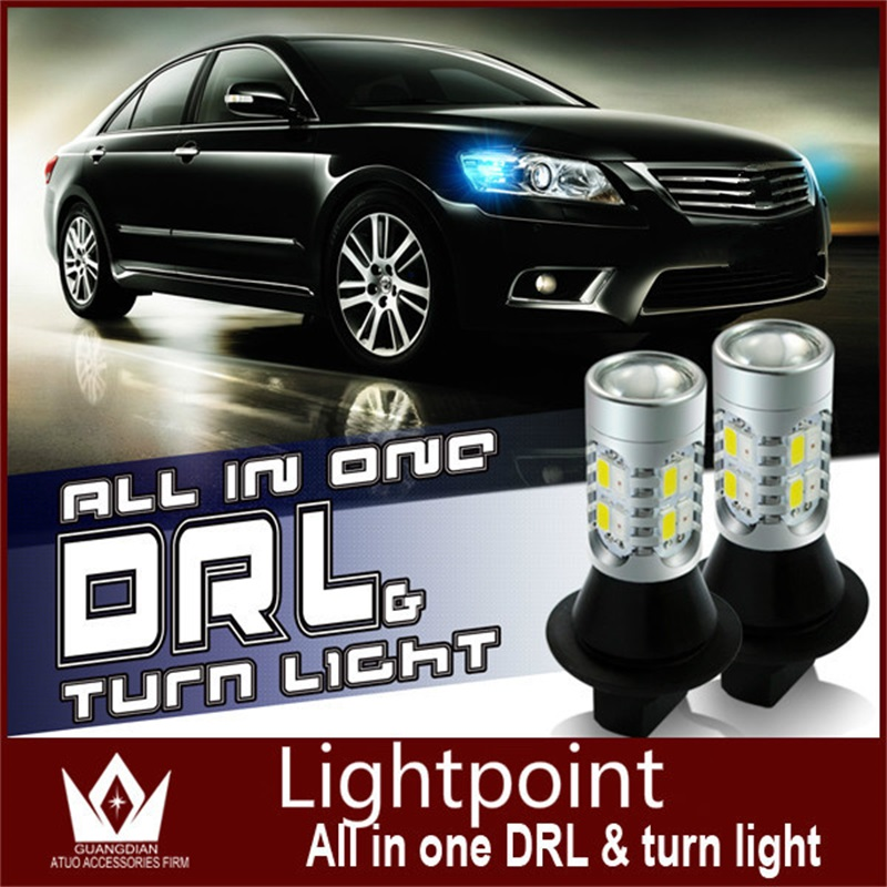 Tcart Auto Led Light Daytime Running Light Front Turn Signals Light Car DRL Led Winker Bulb White+Yellow Lamp 20W T20 7440 WY21W tcart 2x auto led light daytime running lights turn signals for toyota prius highlander for prado camry corolla t20 wy21w 7440