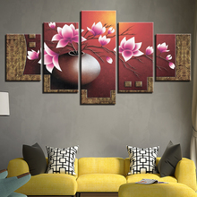 Modern Printed Art Painting HD Wall Modular 5 Panel Flower Canvas Living Room Pictures Home Decoration Cuadros Poster Frame