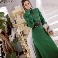 2018 Autumn Winter Women Sweater Dress Warm Dresses Ladies Fashion Loose Casual Knit Dress Cotton Wild Lady Turtleneck LYL276