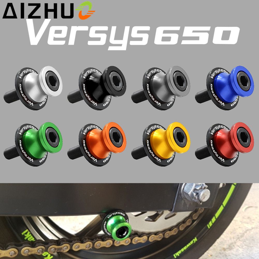 For Kawasaki Versys 650 Versys650 Motorcycle Accessories 10 mm Swingarm Slider Spools CNC Aluminum Screws With Versys 650 LOGO cnc motorcycle m8 for kawasaki zx6r z800 z1000 zx10r zx 10r versys 650 z900 z650 swingarm spools slider protectors stands screw