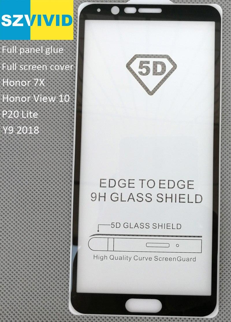 Full Screen Panel Kleber Abdeckung Gehärtetem Glas Für Huawei Ehre Ansicht 10 7X P20 Lite Y9 2018 2.5D Cruved oleophobe Hohe qualität