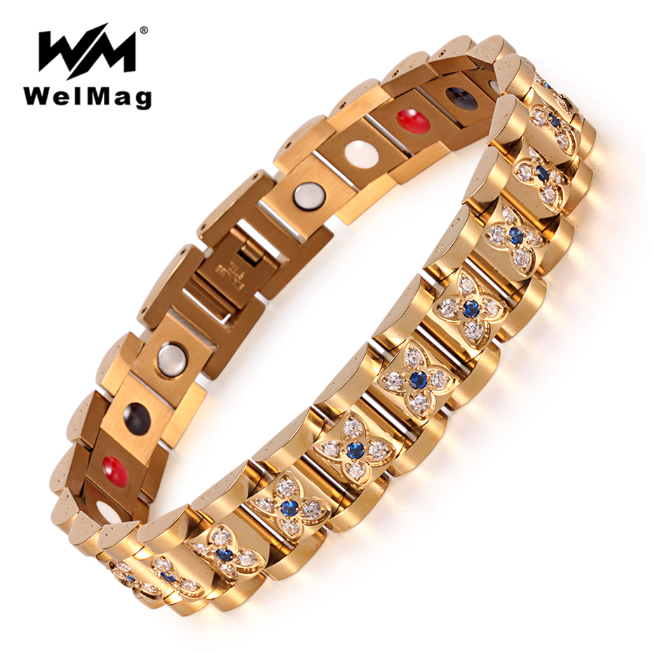 WelMag Top Quality Crystal Female Magnetic Bracelet 2018 Fashion Stainless Steel Germanium Care Jewelry for Women Charm Bracelet