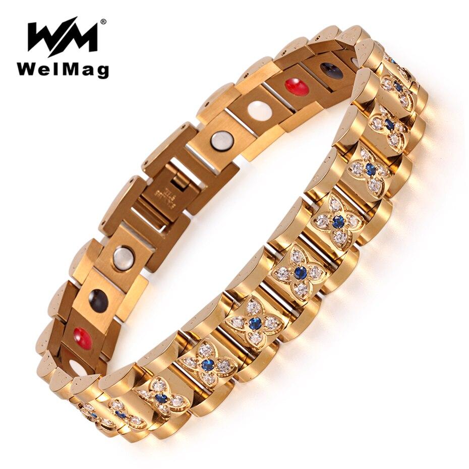 WelMag Top qualité cristal femme Bracelet magnétique 2019 mode acier inoxydable Germanium soin bijoux pour femmes Bracelet à breloques