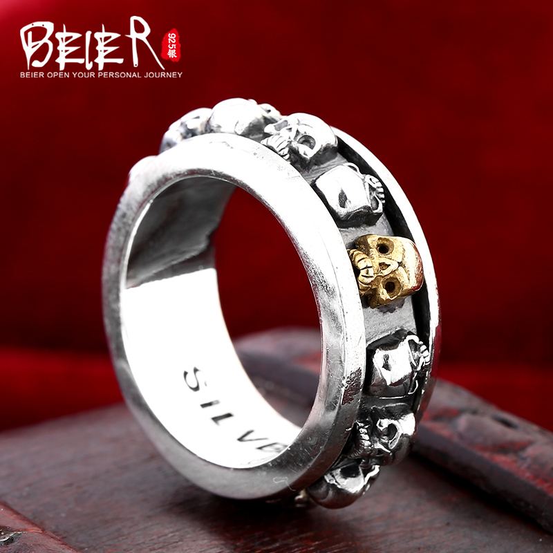 Beier 925 silver sterling jewelry unique punk full of skulls around the ring man ring BR925R038 цена