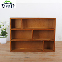 Retro Solid Wood Storage Rack Wall Hanging Sundries Storage Rack Three-layer Living Room Sorting Rack