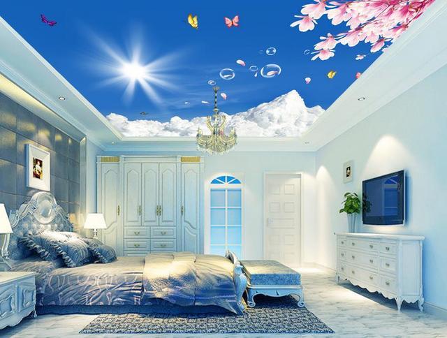 Living Room Murals aliexpress : buy 3d wallpaper nature flower sky ceiling 3d