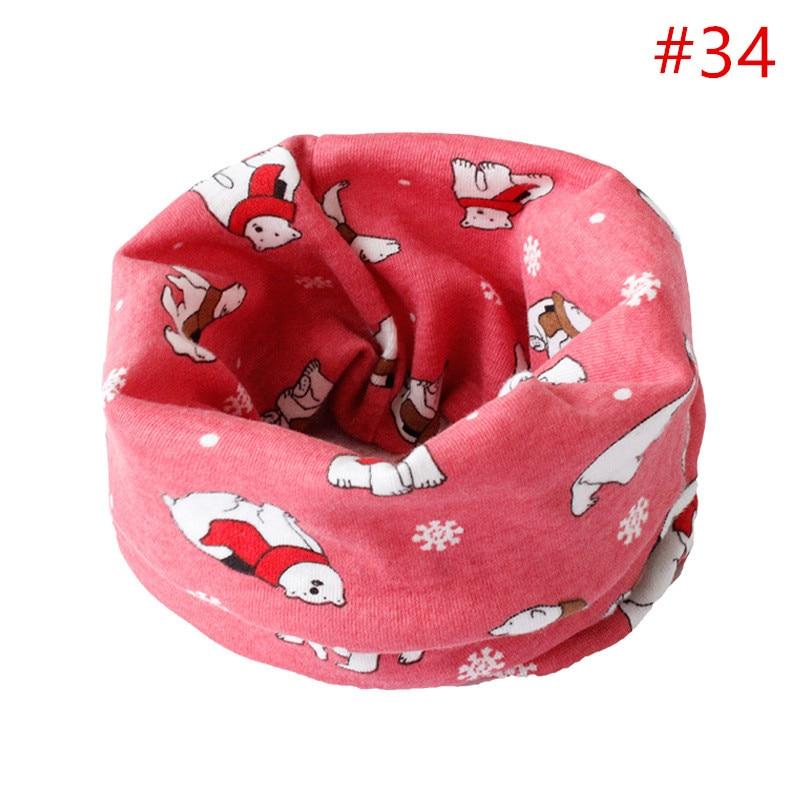 Детский хлопковый шейный шарф с милым принтом; детский теплый шарф; Детские воротники; осенне-зимний шарф-кольцо для мальчиков и девочек; аксессуары для детской одежды - Цвет: No.34