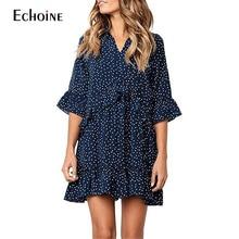 цена на 2019 Summer Women Dress Ladies Ruffles Loose Polka Dot vintage Dress Flare Sleeve red Casual Loose Boho dress femme plue size