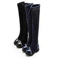 Hot Sale New Winter Toddler Girls Solid Blue Black Color Crystal Decor Anti Slip Rubber Soled