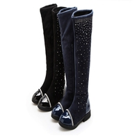 Venta caliente nuevo invierno Niño Niñas sólido azul/negro color cristal decoración antideslizante caucho soled pu moda sobre las rodillas botas