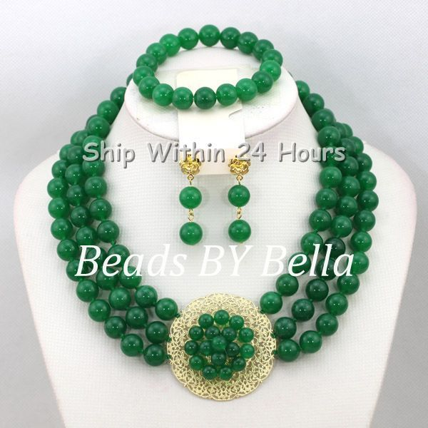 New Arrival Green Beads Necklace Set Christmas Gift Jewelry Set African Wedding&Party Beads Jewelry Set Free Shipping ABC918