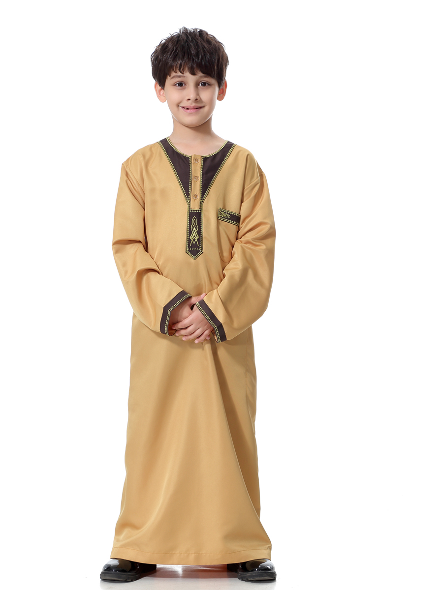 Kids Boys Thobe Thoub Robe Daffah Dishdasha Islamic Arabian Kaftan Saudi Style