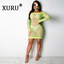 XURU Summer New Womens Mesh Sexy Dress Solid Color One-Piece Nightclub Club Party