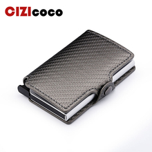 Men Metal Card Holder Fashion PU Leather Credit Business Bank ID Cases Women RFID Wallets