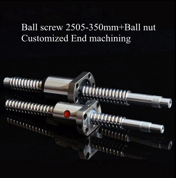 все цены на 2pcs/lot! SFU2505 Ballscrew Set : SFU2505 Ball Nut +  Ball screw SFU2505 L350mm Customized End Machining Standard for BK20 BF20 онлайн