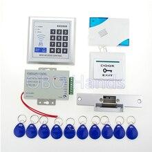 ¡ Venta caliente! completo puerta de control de acceso 3000 usuarios + 12 v fuente de alimentación + huelga de bloqueo electrónico + puerta + botón de timbre de la puerta + 10 unids clave