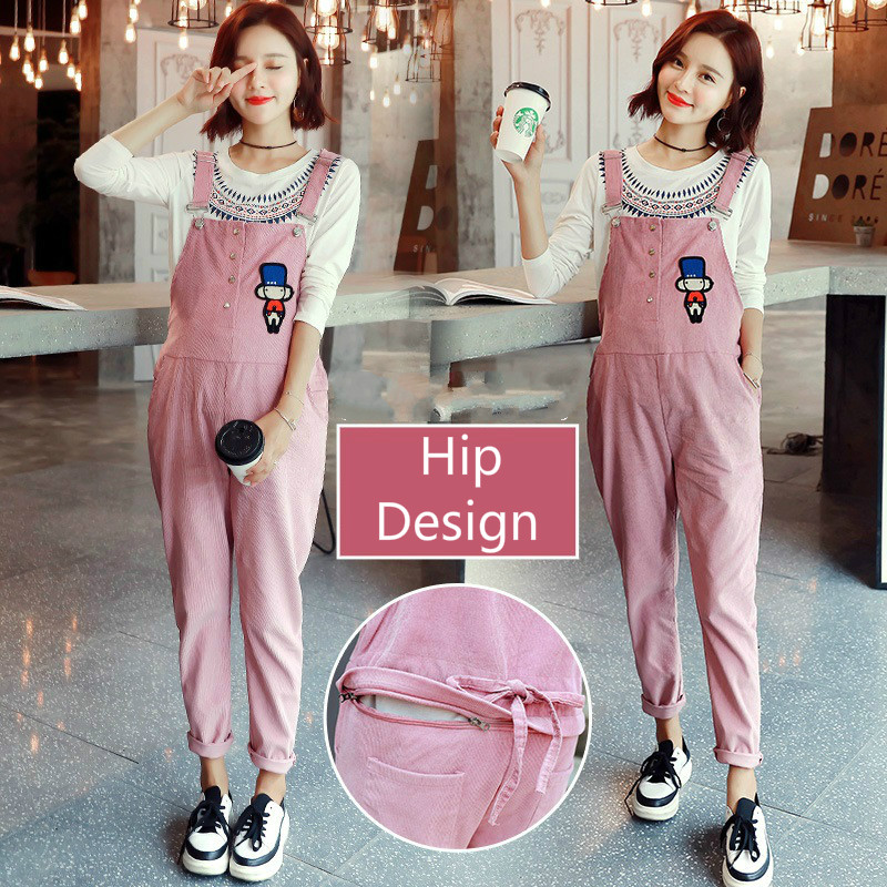 Y056 New Corduroy Pregnant Cartoon Suspender Trousers Embroidery Spring Autumn Maternity Overalls L-XXXL Women's Pregnant Pants цена 2017