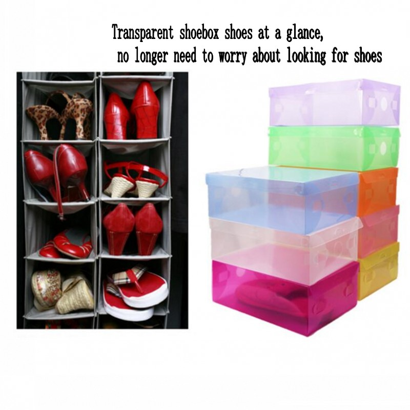 3pcs/lot A Portable Folding And Transparent Shoe Household Storage Box  Travel Shoes Bag Multifunctional Shoe Storage Organizer